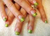 Brilliant green French manicure